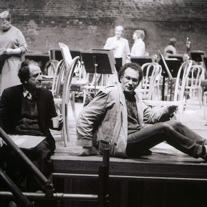 Lukas Foss & CM sittign on the stage at Snape Maltings during a break in rehearsal