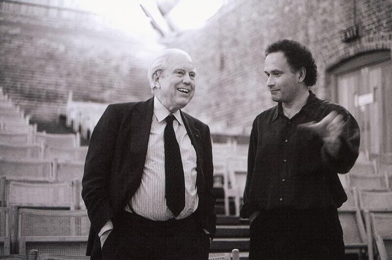 Elliott Carter & CM in conversation in Snape Maltings concert hall