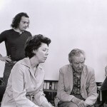CM, Janet Baker, Benjamin Britten, Rita Thomson in conversation while looking at a music score together