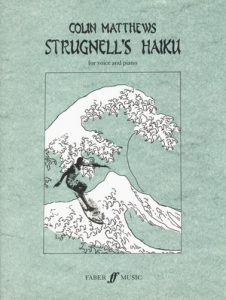 Cover of score for Strugnell's Haiku featuring a drawing of someone surfing