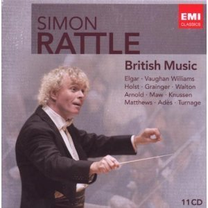 Cover of CD for Simon Rattle conducts British Music with an image of Simon Rattle