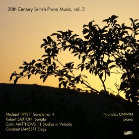 Cover of british piano music with a silhouette of a tree