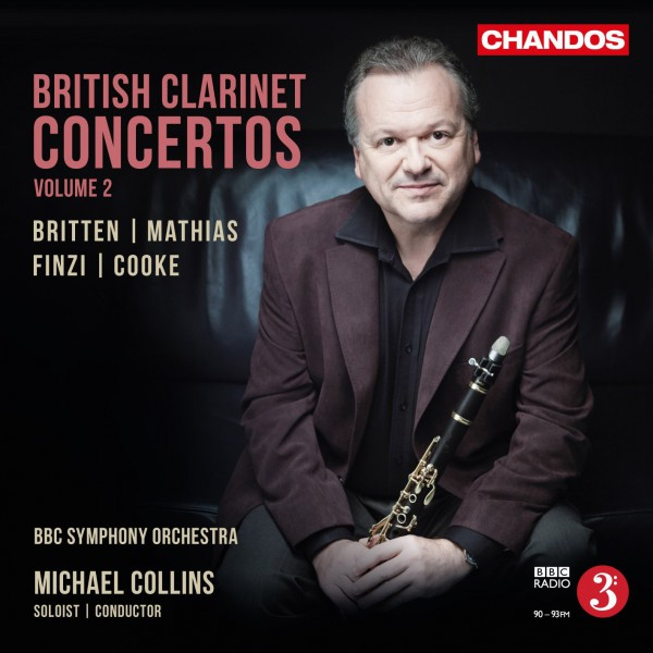 Cover of clarinet concertos CD featuring a portrait of clarinetist Michael Collins