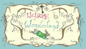 Logo for the Wonderland project, with the words 'Welcome to Wonderland' and a picture of a rabbit and some tree branches