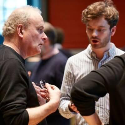 CM, Jack Sheen, François-Xavier Roth at LSO Panufnik Workshop, March 2016 (Photo: Kevin Leighton)