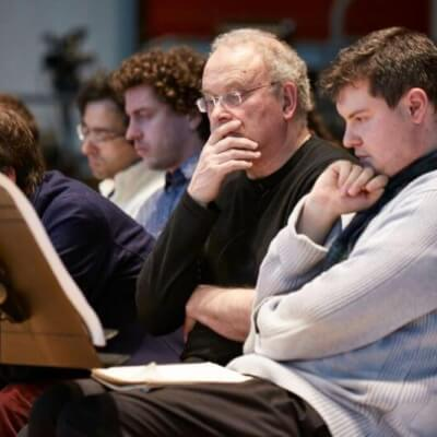 CM, Michael Taplin at the LSO Panufnik Workshop, March 2016 (Photo: Kevin Leighton)