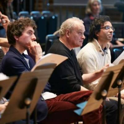 Ewen Campbell, Christian Mason, CM, Daniel Moreira at the LSO Panufnik workshop, March 2016