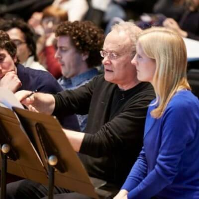 Christian Mason, Ewen Campbell, CM, Deborah Pritchard at the LSO Panufnik Workshop, March 2016 (Photo: Kevin Leighton)