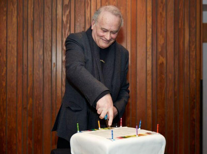 CM cutting 70th birthday cake! At the LSO Panufnik Workshop, March 2016 (Photo: Kevin Leighton)