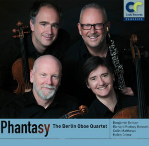 cover of CD for berlin oboe quartet's phantasy cd featuring an image of all four players