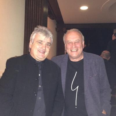 Richard Watkins and Colin Matthews backstage together after performance of horn concerto