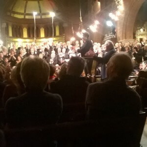 Colin Matthews taking a bow at the first performance of Voices of the Air