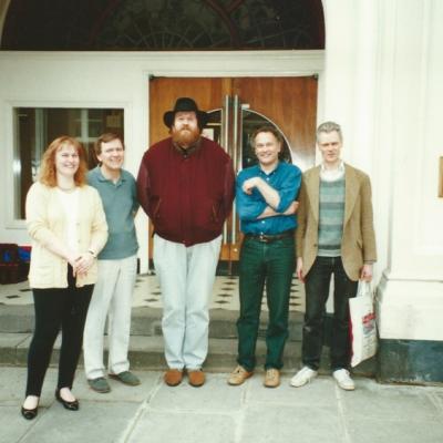 Marian Freeman, Trygg Tryggvasson, Oliver Knussen, CM, Robin Holloway standing outside the Maida Vale studios building