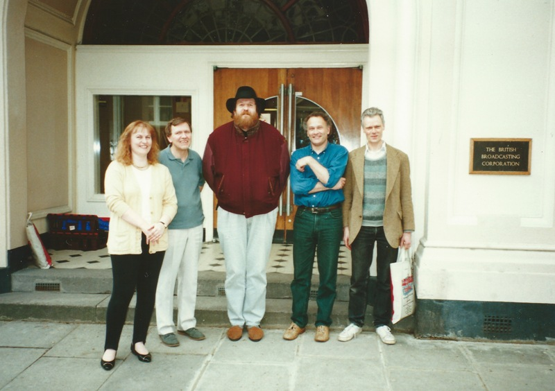 Marian Freeman, Trygg Tryggvasson, Oliver Knussen, CM, Robin Holloway standing outside the Maida Vale studios building