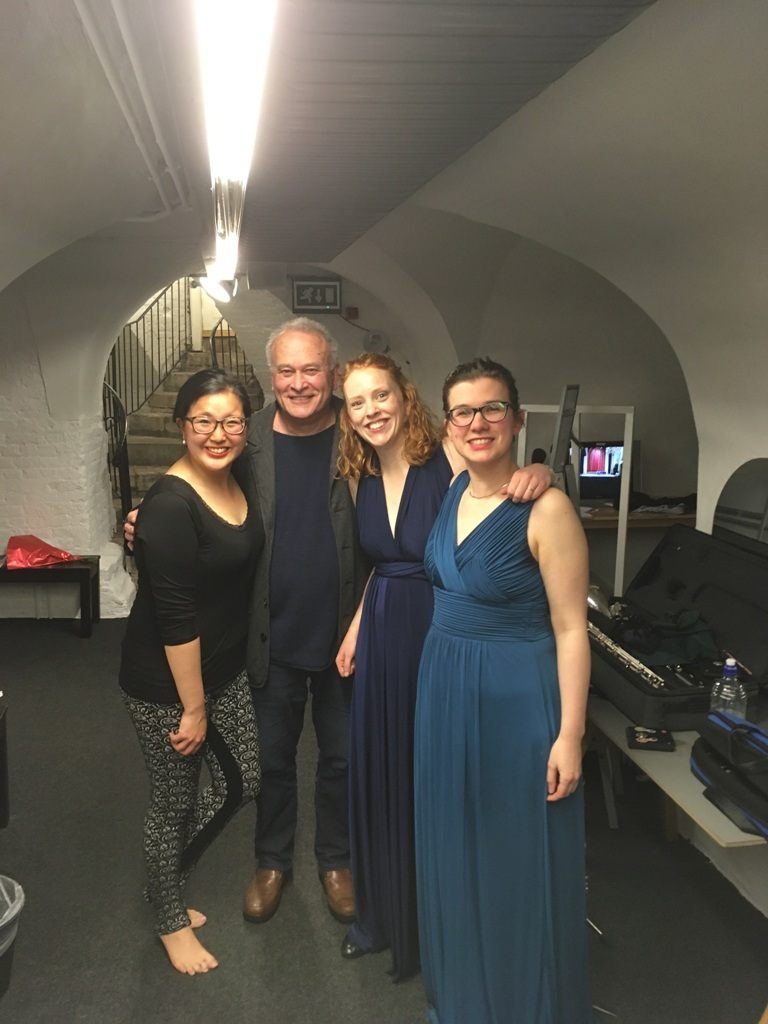 CM backstage with the members of the Jacquin Trio