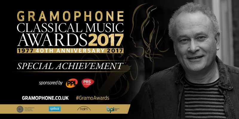 Picture of CM alongside details of 2017 gramophone special achievement award