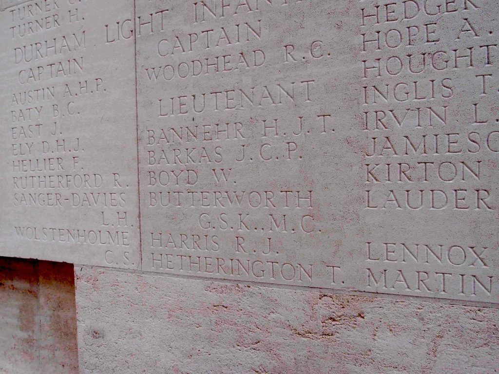Names inscribed on memorial ston including Butterworth, G.S.K..M.C.