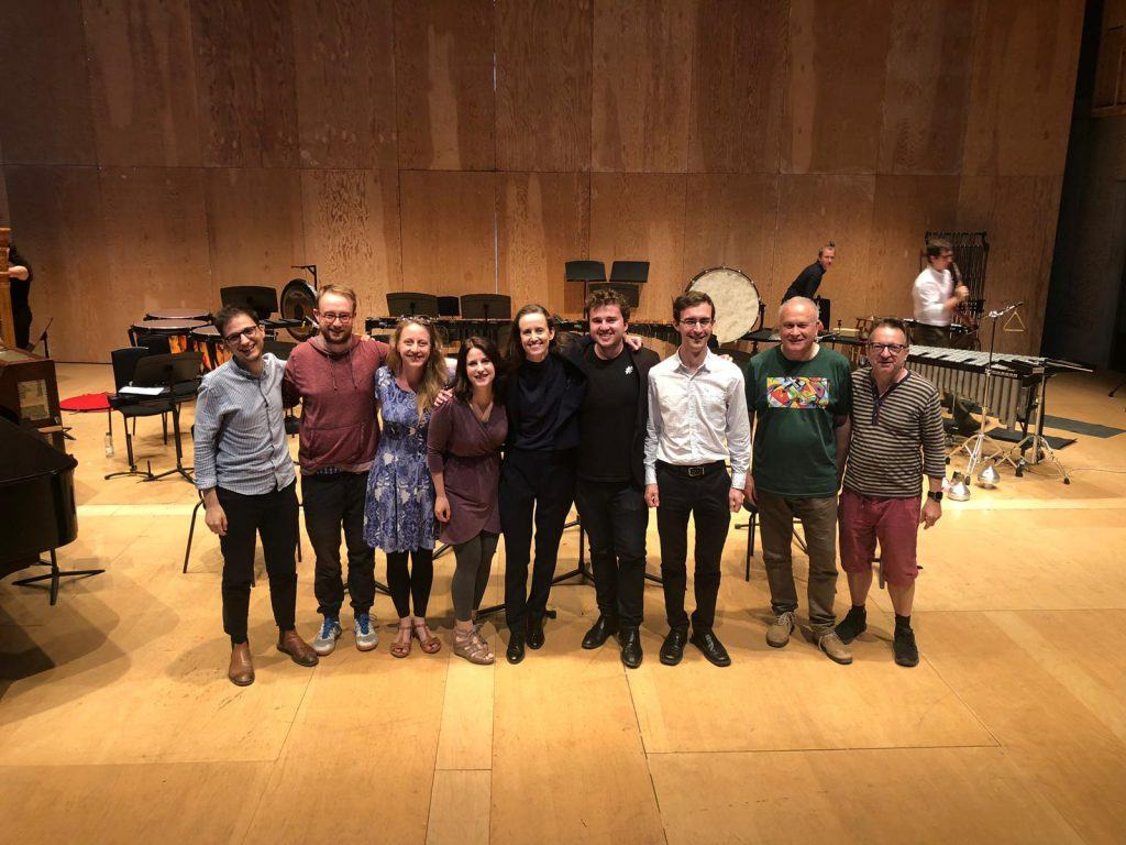 Composers lined up on stage at Snape Maltings