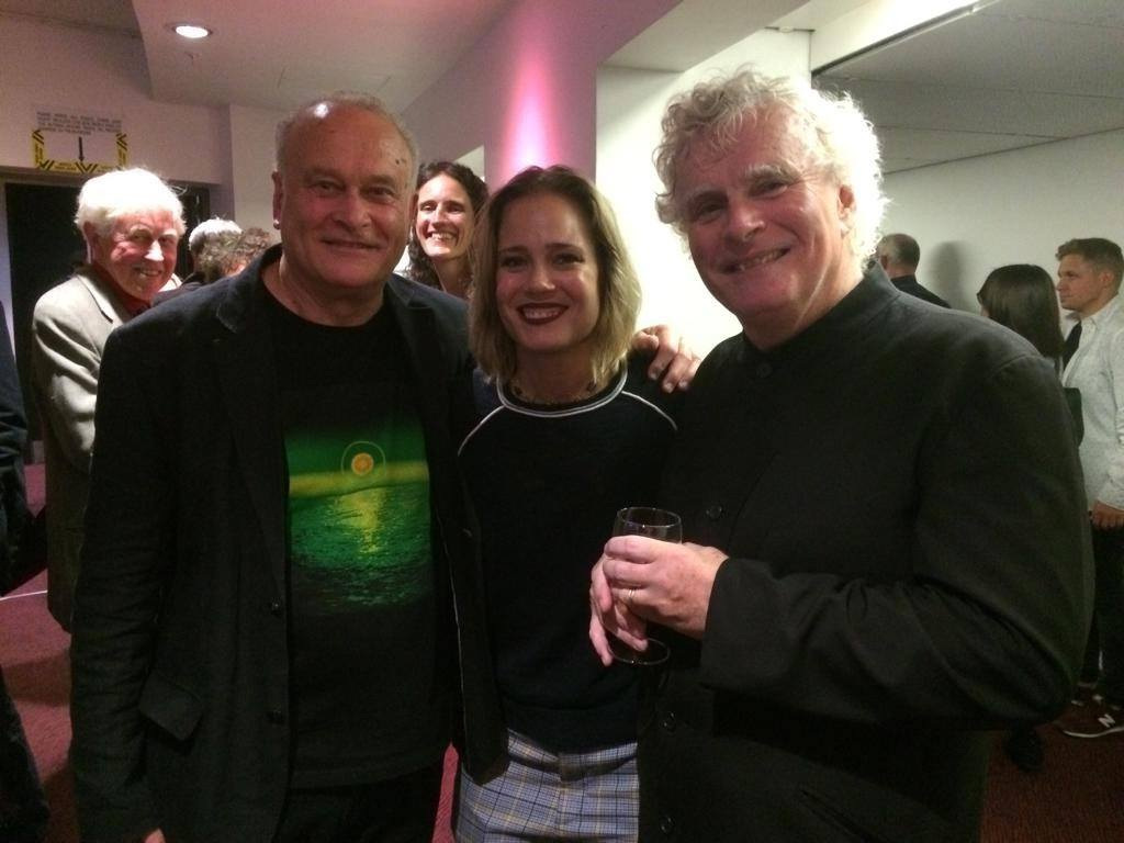 CM, Leila Josefowicz and Simon Rattle backstage at the barbican