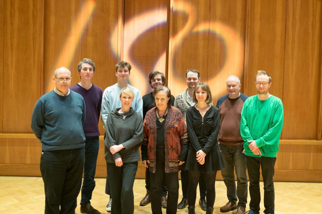 Group pic of composers David Alberman (LSO chair and principal 2nd violin), Christian Mason (composition support) and from left to right Christian Drew, Stef Conner, Chris McCormack, Camilla Panufnik, Patrick Jones, Emma-Kate Matthews, CM, and Alex Paxton.