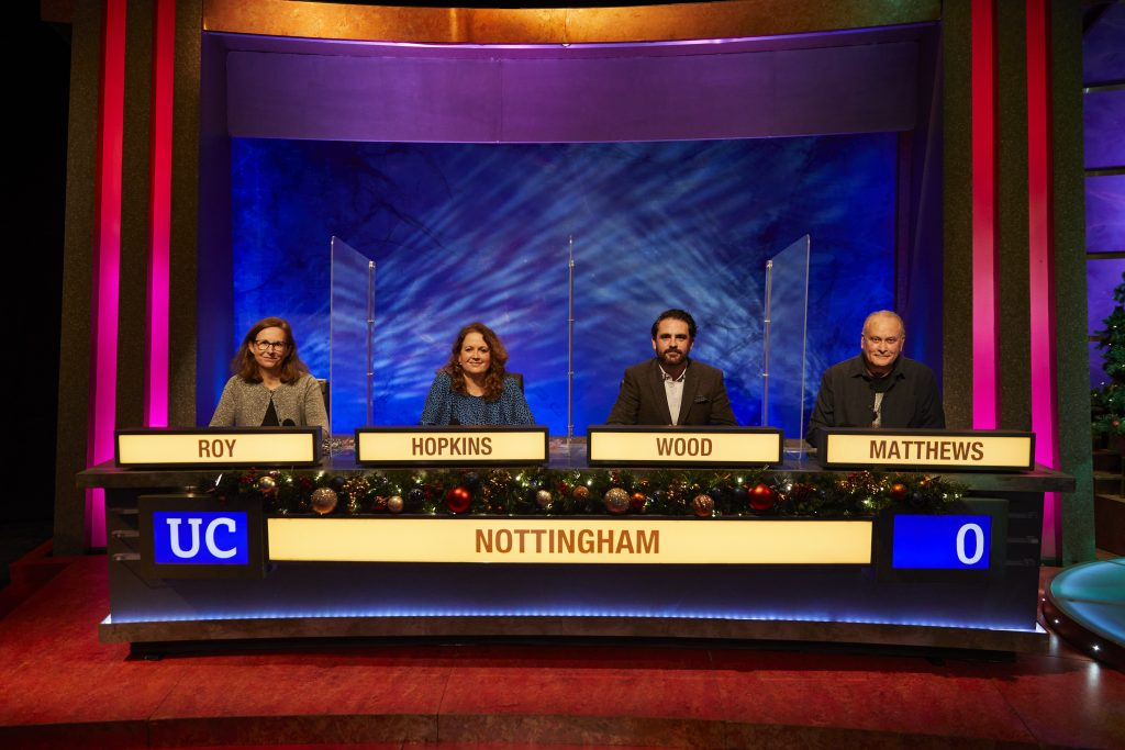 Nottingham University Challenge team - Roy, Hopkins, Wood, Matthews