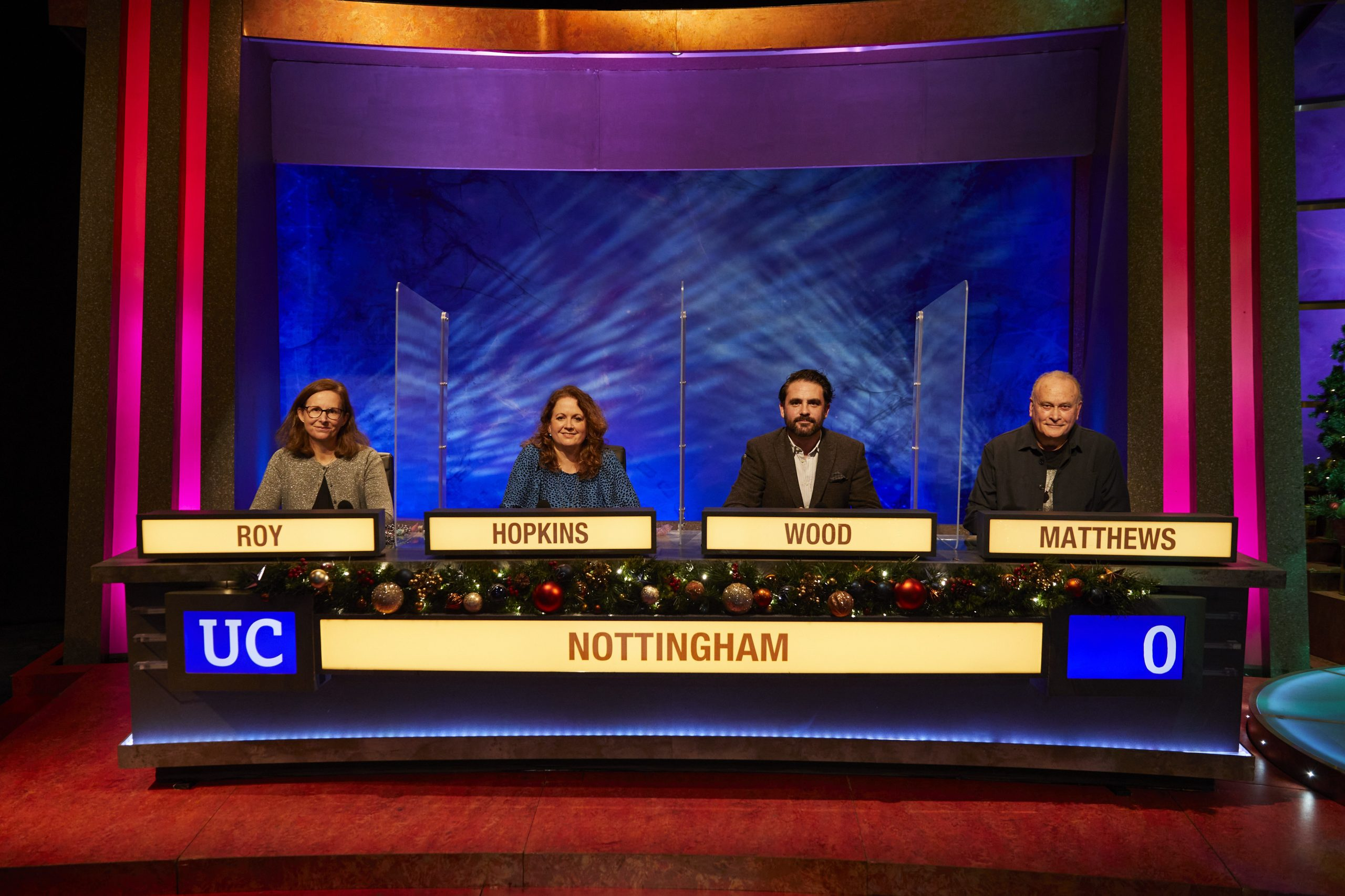 Nottingham University Challenge team - Roy, Hopkins, Wood, Matthews